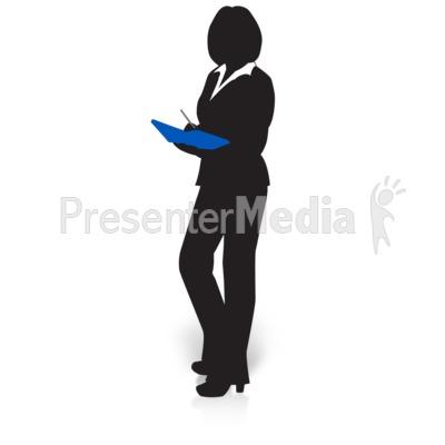Businesswoman Silhouette Pull Files.