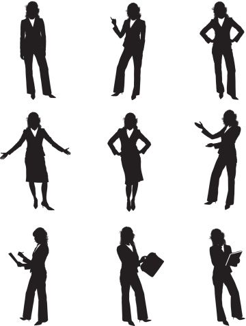 Woman In Suit With Clipboard Clip Art, Vector Images.