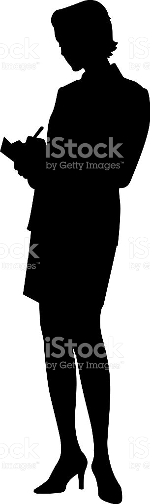 Silhouette Of Businesswoman Writing On Clipboard stock vector art.