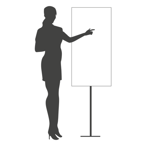 Businesswoman pointing board silhouette.