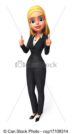 Clipart of Business Woman with best luck sign.