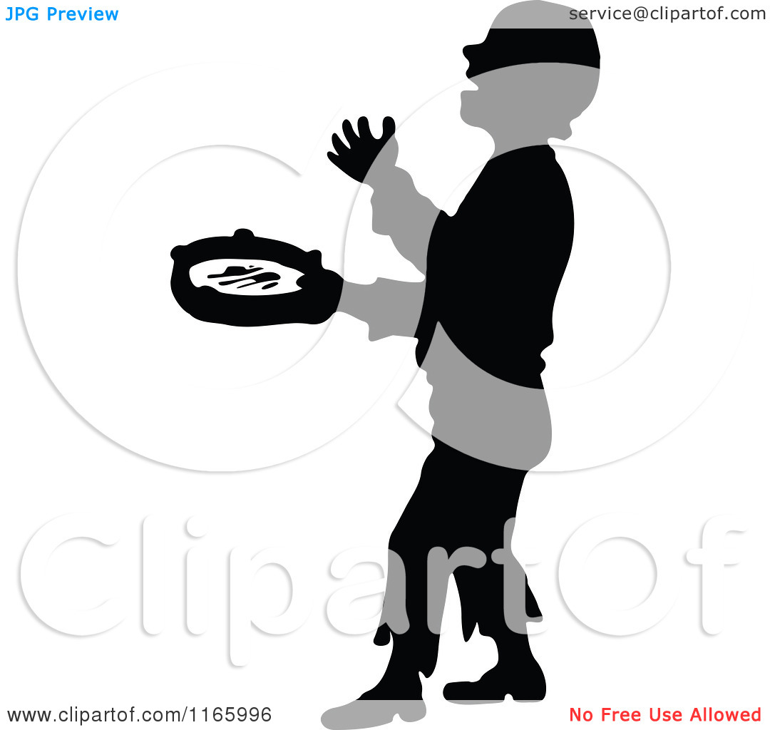 Clipart of a Silhouetted Musical Busker Boy.
