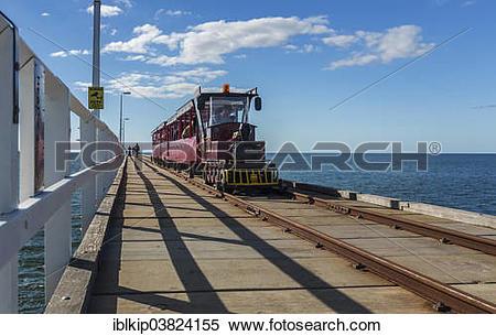 """Stock Image of """"Busselton Jetty Train, Busselton, Western."""