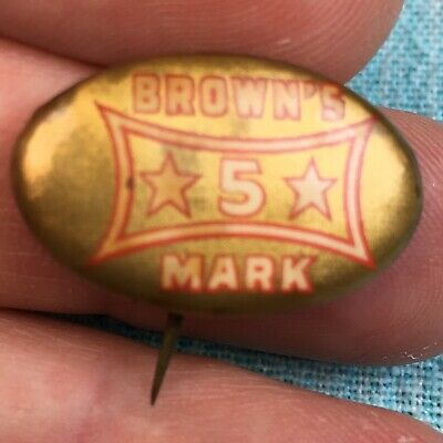 "Buster Brown's 5 Mark Shoes Button 1"" 1900\'s St. Louis Advertising Pin  AUTHENTIC."