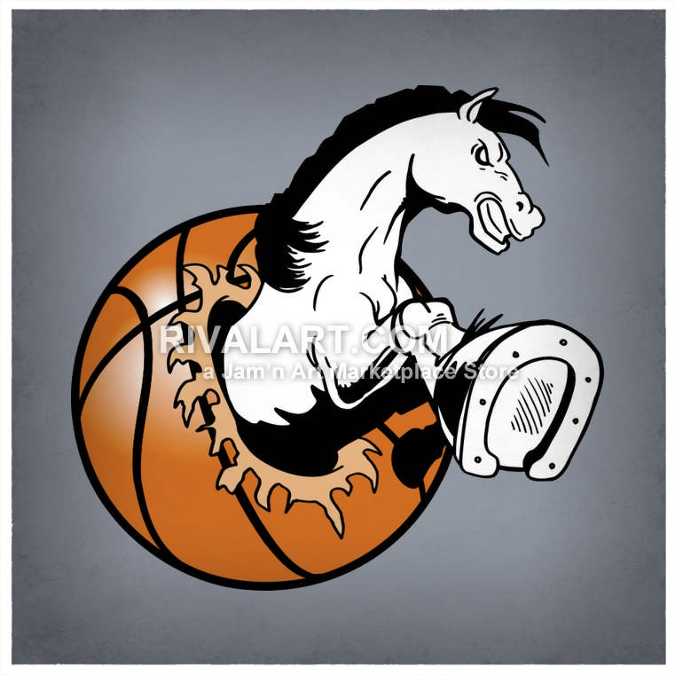 Horse Clipart Horse Busting Out Of A Basketball.