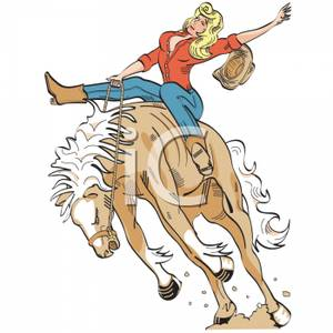 Cartoon of a Cowgirl Bronco Busting.