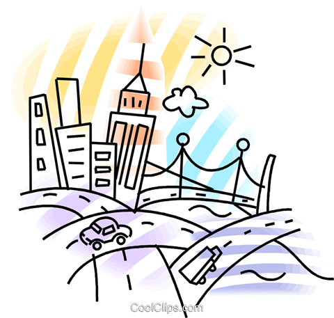 Bustling city with roadways Royalty Free Vector Clip Art.