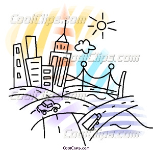 Bustling city with roadways Vector Clip art.