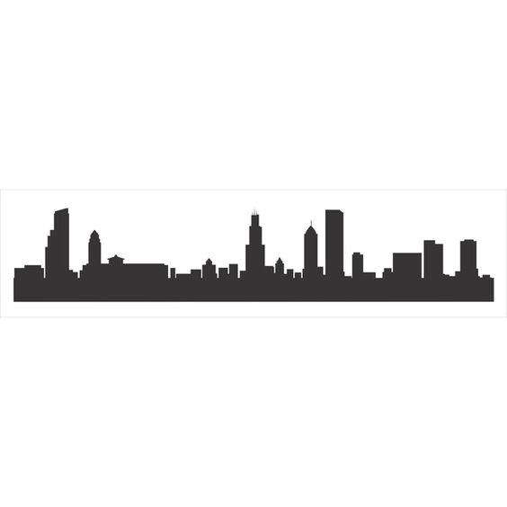 Chicago Skyline Silhouette Stencil City.