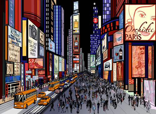 Bustling city design vector Free vector in Encapsulated.