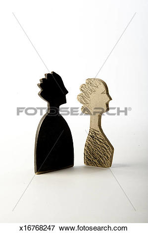 Picture of Two ceramic busts: a black man and a white woman.
