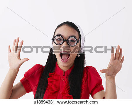 Stock Photography of Facial expressions, busts, pose, Asian.