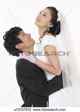 Stock Photo of bust, wedding dress, pose, Asian, Asians, busts.