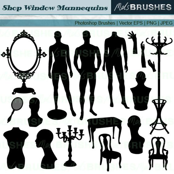 Here is a set of clip art illustrations of mannequins, busts.