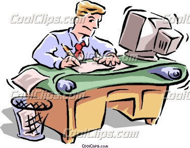Busy office worker clipart.