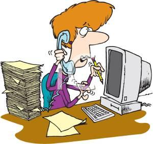 Busy Secretary Clipart.