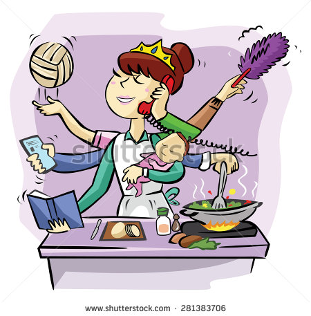 Busy mom clipart.