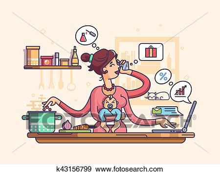 Busy mother with baby Clip Art.