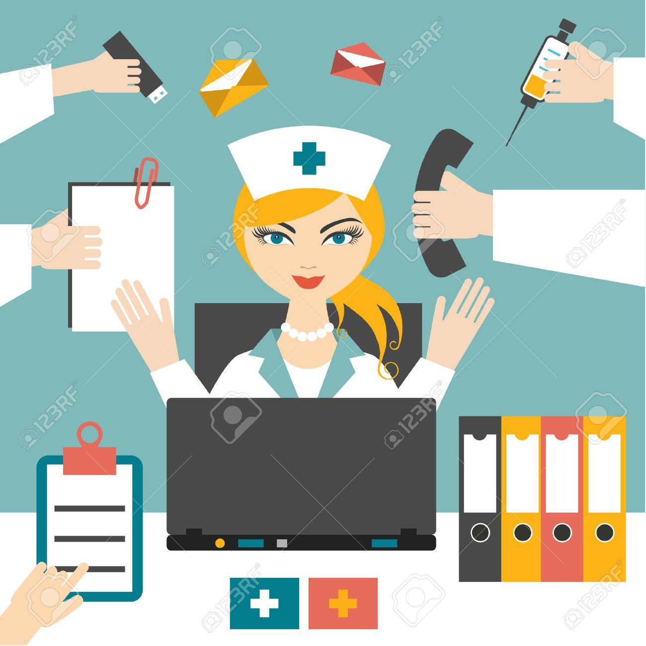 Busy Nurse Clipart.