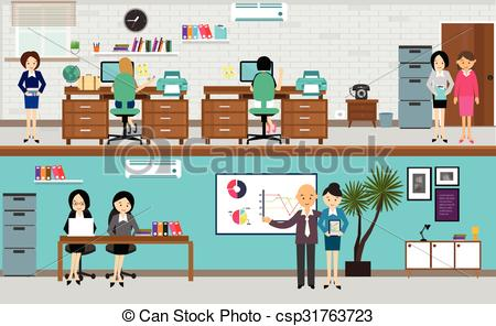 people working at office in flat vector illustration busy teamwork desk  computer standing presentation.