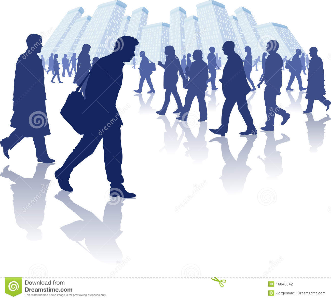 Busy People Walking Stock Illustrations.