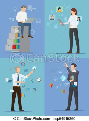 Four Banners with Busy People Vector Illustration.