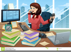Clipart Busy Secretary.