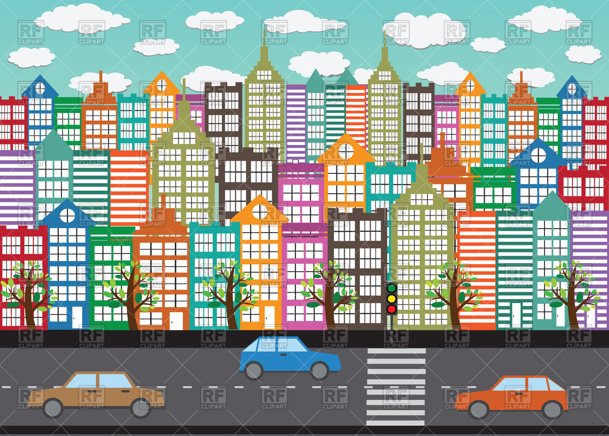 Busy City Street Clipart.