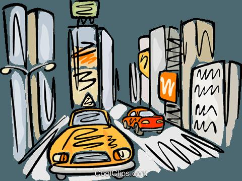 taxi on a busy street Royalty Free Vector Clip Art.