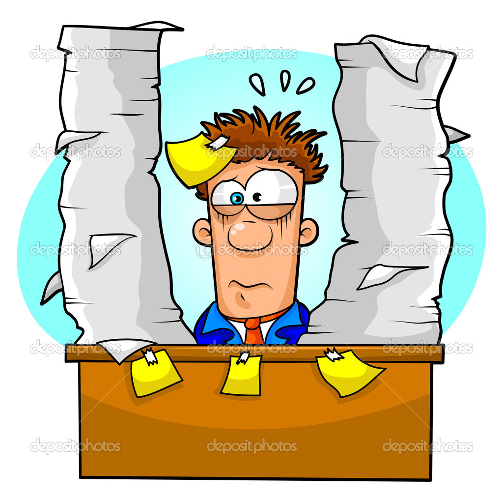 Tired office worker clipart.