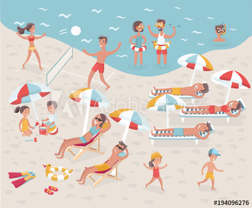 Beach: Cartoon illustration of busy beach. No transparency.