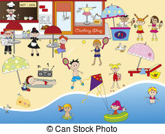 illustration of people on the beach..