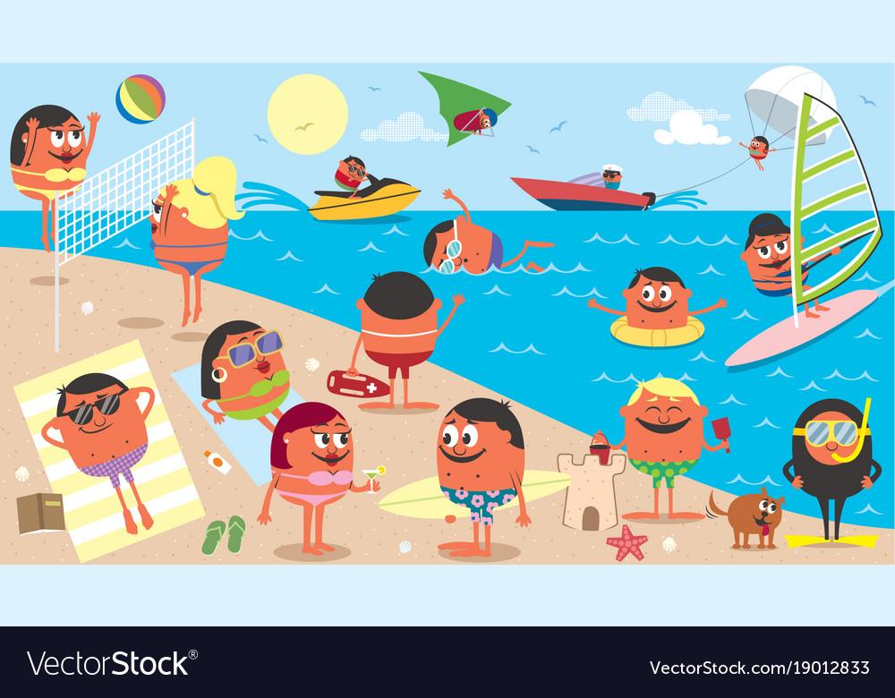 Beach landscape cartoon.