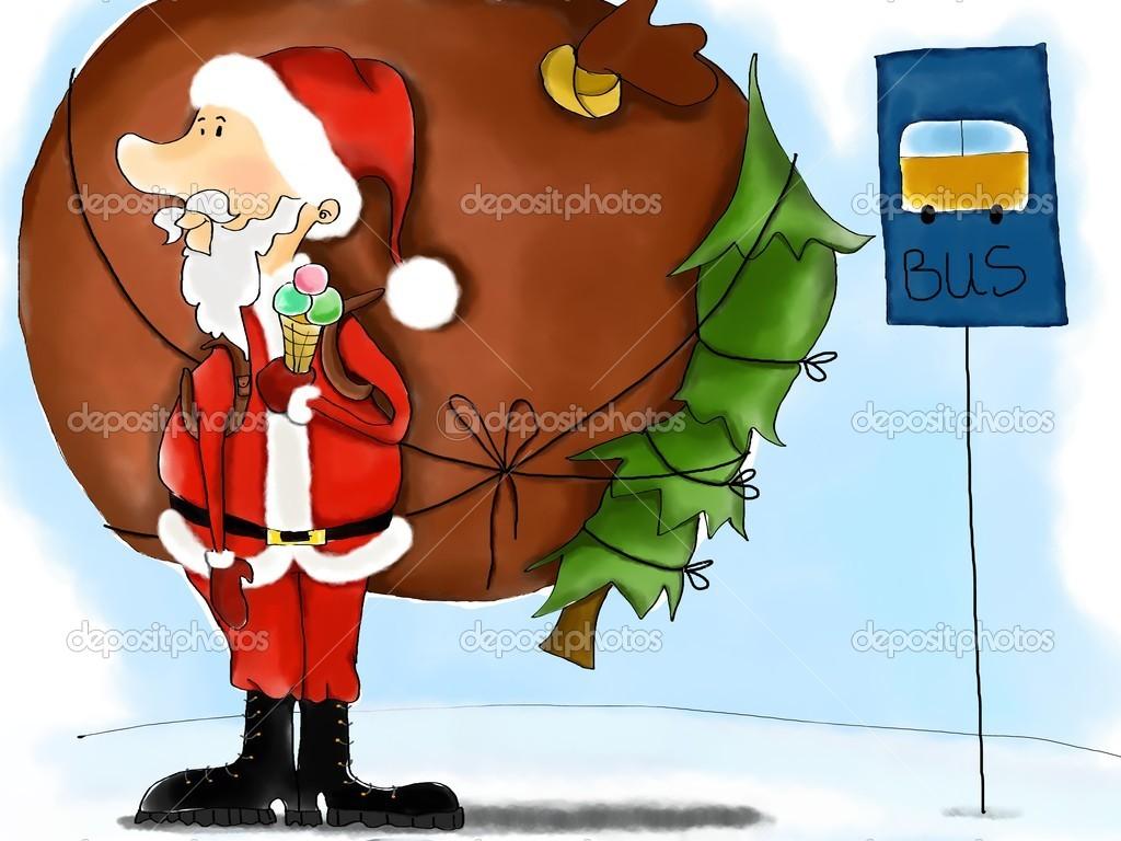 Santa Claus eszik fagylaltot autóbusz.