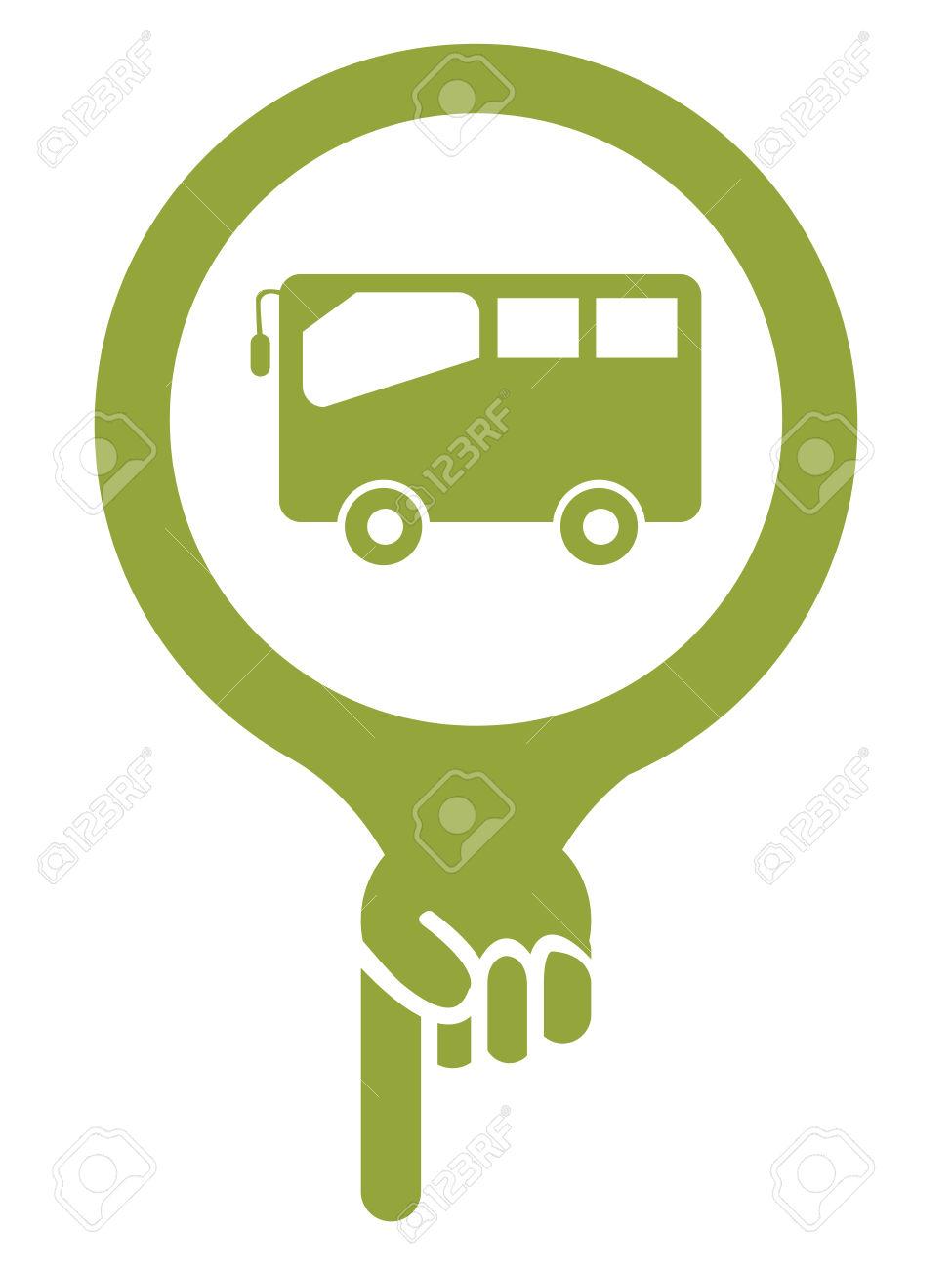 Zöld Térkép Mutató Ikon A Busz, Buszmegálló, Buszpályaudvar.