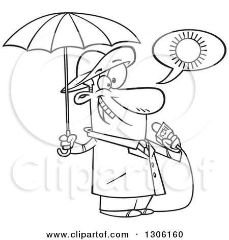 Lineart Clipart of a Cartoon Black and White Weather Man Lying.