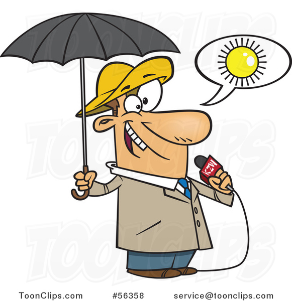 Cartoon White Weather Guy Lying About Sunny Weather but Ready for.