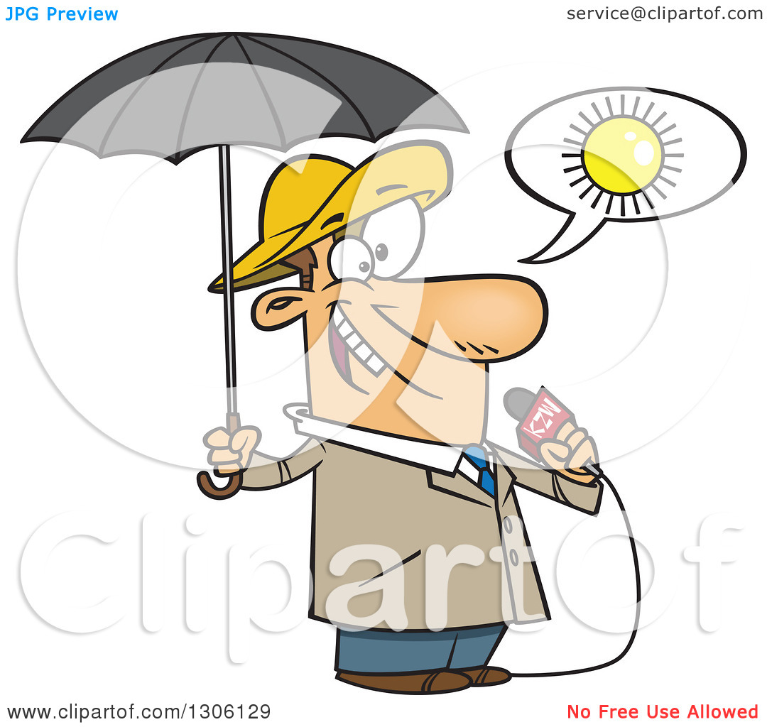 Clipart of a Cartoon White Weather Man Lying About Sunny Weather.