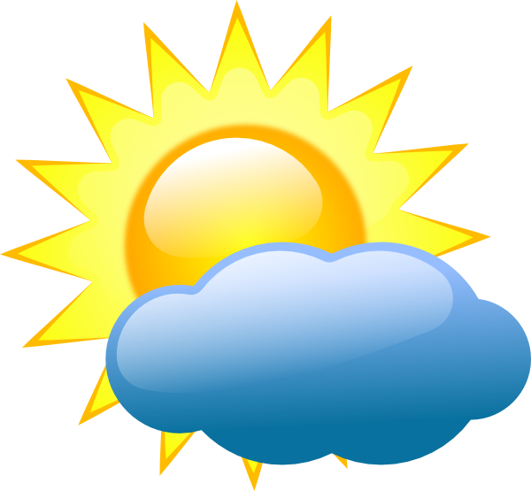 Sunshine clipart image partly cloudy but mostly sunny with.