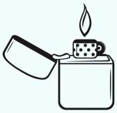 butane : Metal lighter.