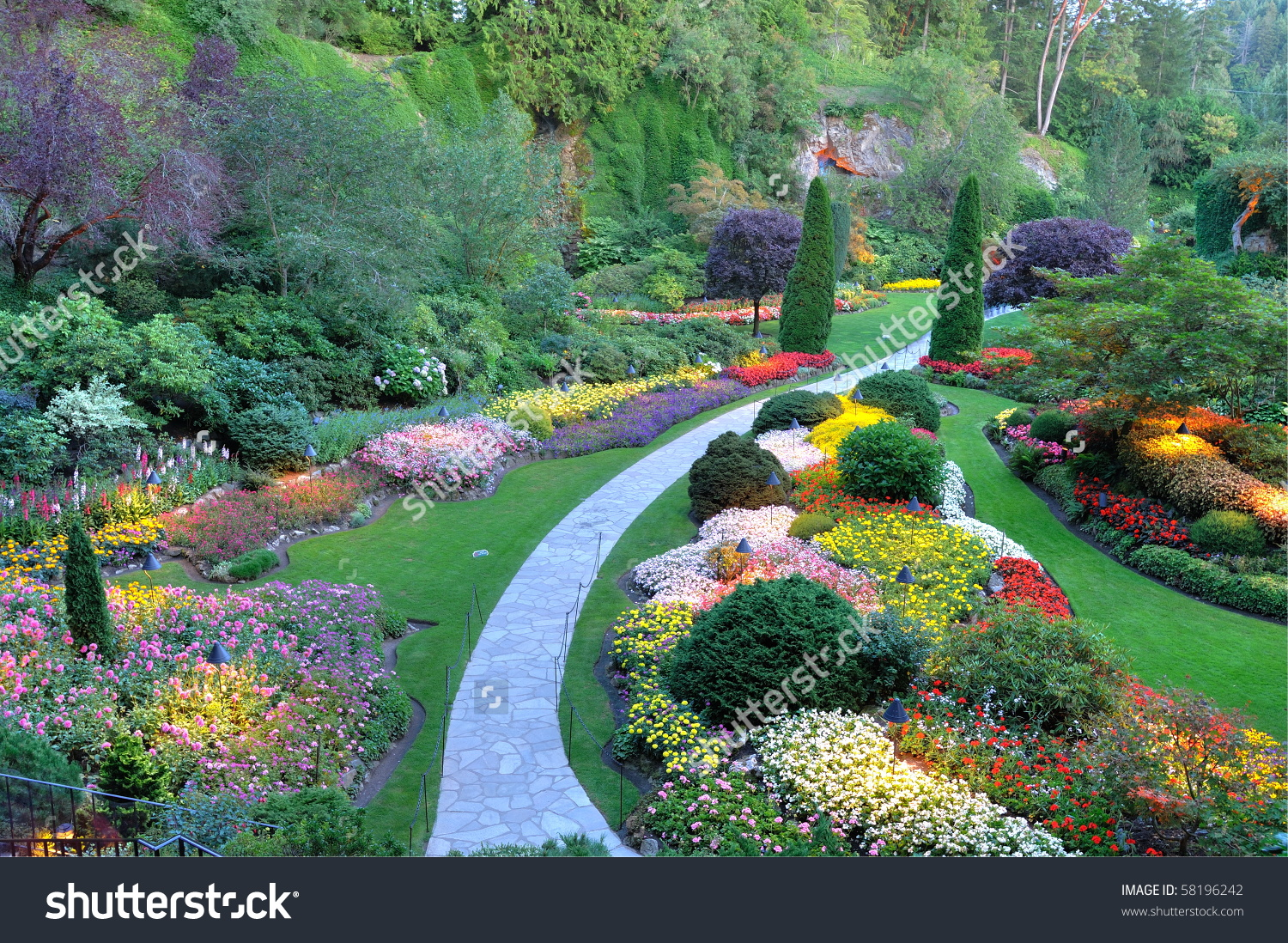 Summer Beautiful Sunken Garden Night Scene Stock Photo 58196242.