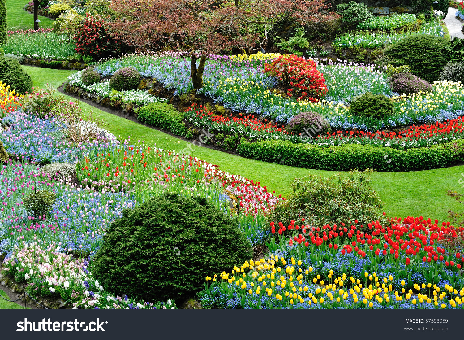 Sunken Garden Inside Historic Butchart Gardens Stock Photo.