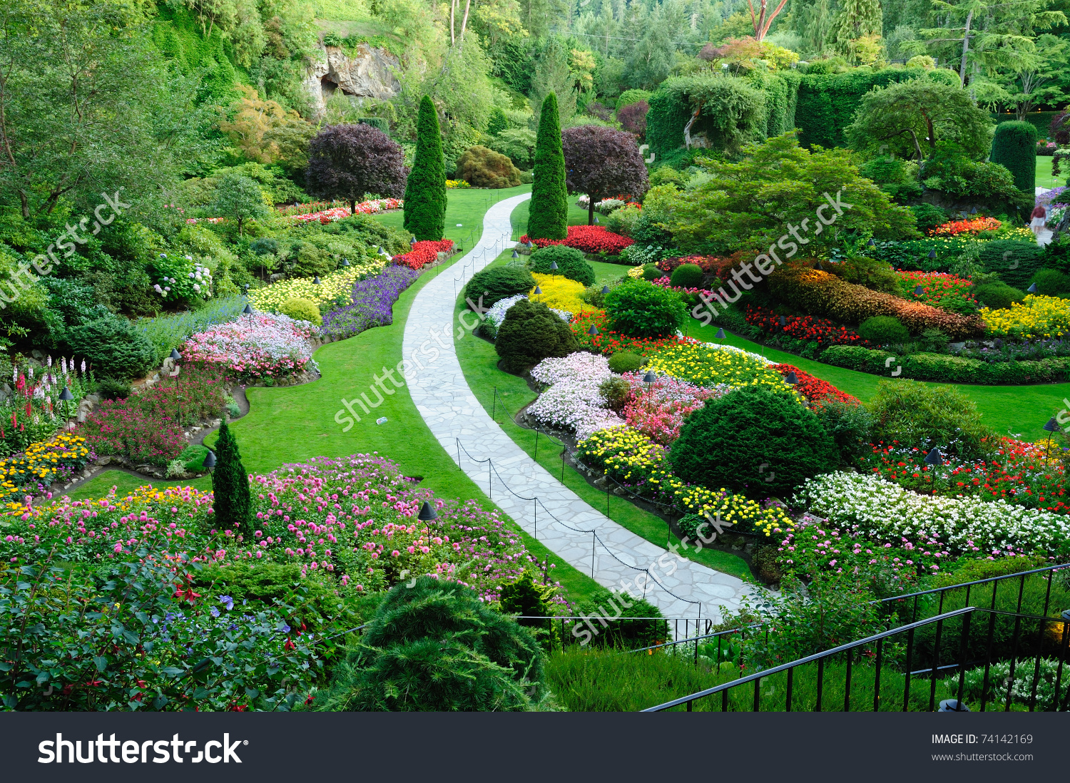 Butchart Garden Spring Victoria British Columbia Stock Photo.