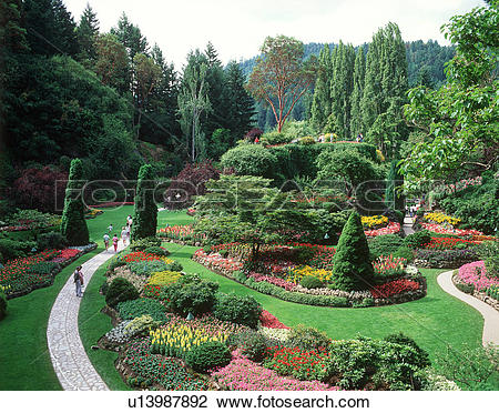 Stock Photo of Butchart Gardens, sunken gardens, Victoria.