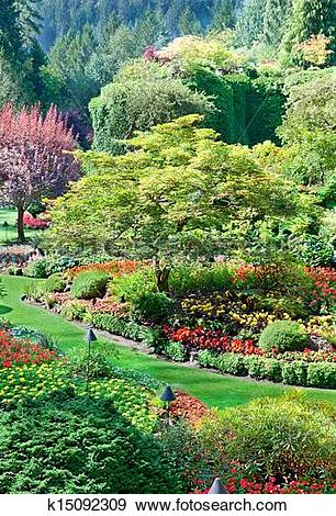 Stock Photograph of Sunken Garden at Butchart Gardens k15092309.