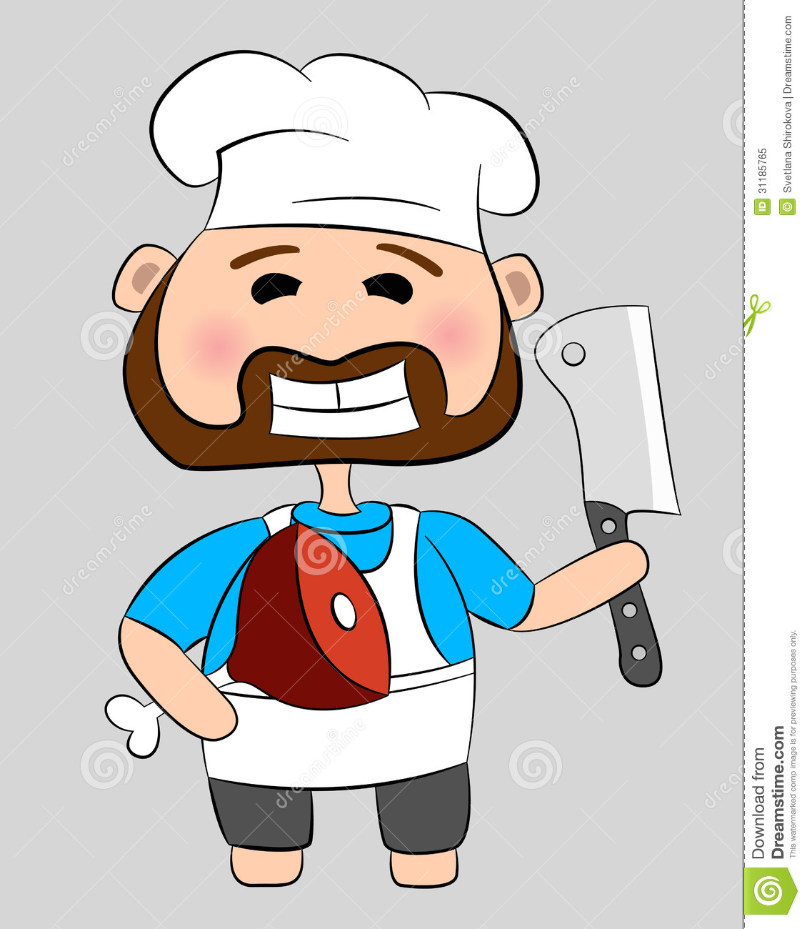Cartoon butcher clipart.