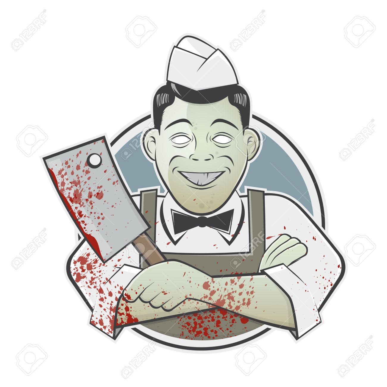 cartoon butcher with bloody cleaver in a badge.