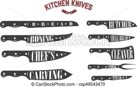 Set of kitchen knives. Butcher knives on white background. Vector  illustration.