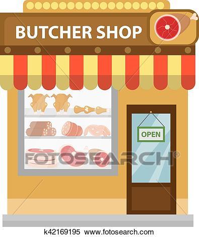 Butcher shop, meat showcase, icon flat style Clipart.