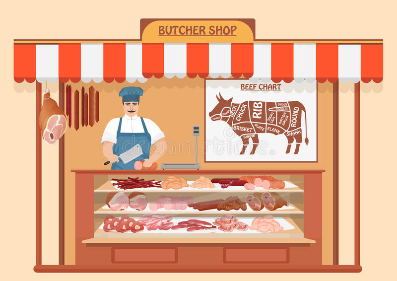 Butcher Shop. Meat Seller. stock vector. Illustration of fresh.